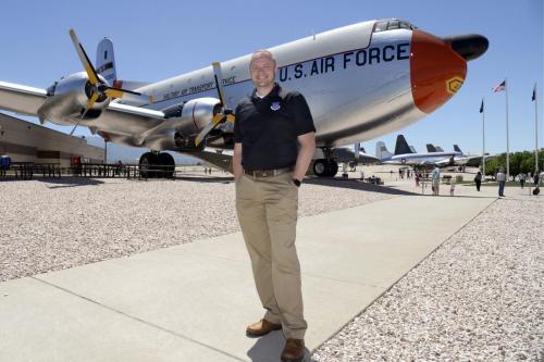 Aaron Clark in front of plane