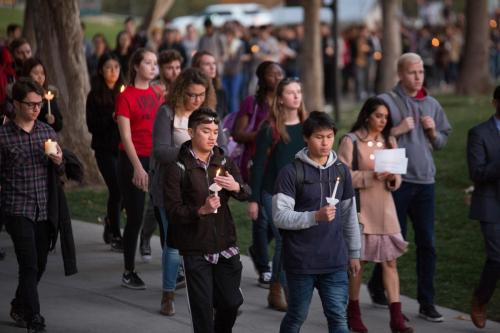 Hundreds attend a candle light vigil for shooting victim, ChenWei Guo at the University of Utah in Salt Lake City on November 1, 2017Copyright: The University of Utah