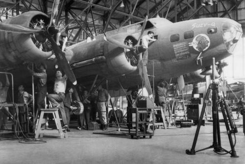 Men working on airplane